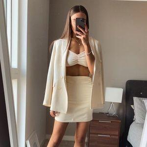 NWT Zara Blogger Fav Cream White Ruched Knit Top